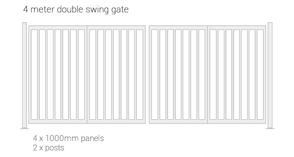 IPS modular gate system - example of 4m double swing gate