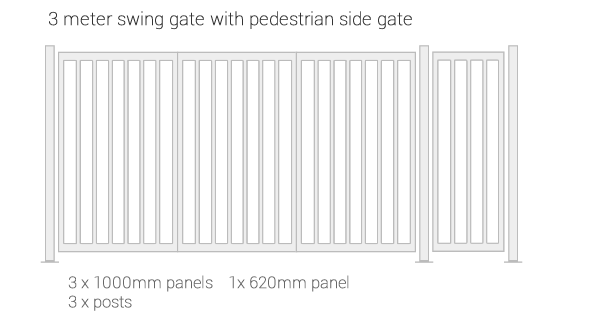 IPS modular gate system - example of 3m single folding gate with pedestrian side gate