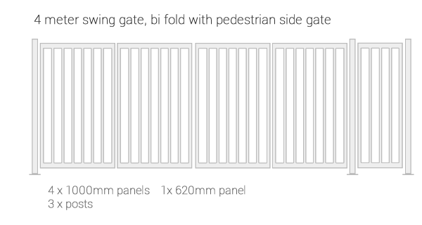 IPS Modular gate system - example of double swiing bi-folding gate