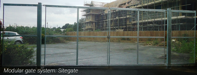 Example of IPS's modular Sitegate system providing perimeter security for a construction site